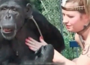 Blonde wants to seduce a gorilla