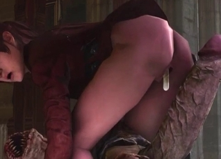 Claire Redfield-looking chick fucked hard