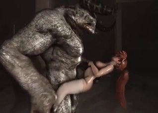 Redheaded nympho raped by a demon