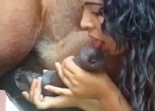Outdoors romp with a Latina zoophile