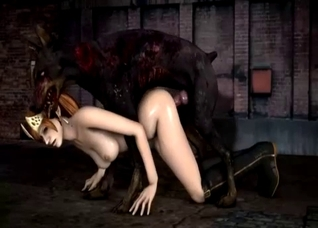 Zombie-like dog rapes a 3D beauty