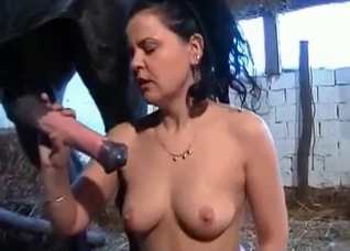 Seductive brunette sucking horse's boner
