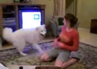 Big white dog seducing a horny slut